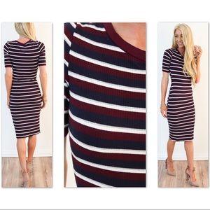 Dresses & Skirts - Short Sleeve Wine Ivory Navy Striped Ribbed Dress